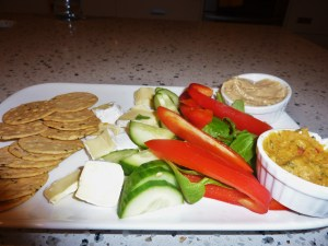 Rice crackers, pumpkin and kumara dip, olive hummus, spinach, Cuc, Capsicum and BRIE.